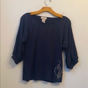 BABY PHAT SOLID Navy BLUE BLOUSE SIZE LARGE